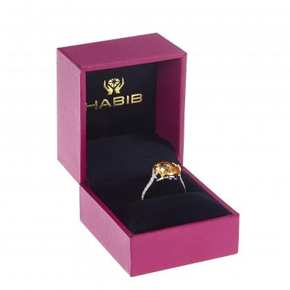 Cushion Cut Citrine Diamond Ring in 375/9K White Gold 260420321