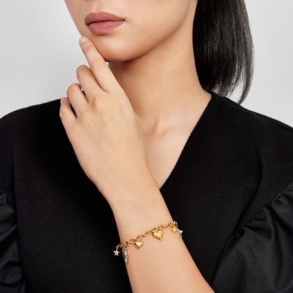 Oro Italia 916 Amore White and Yellow Gold Bracelet (10.33G) GW37760421(YW)-BI