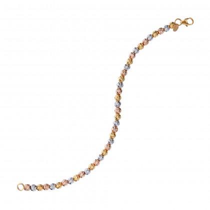 Oro Italia 916 Piccolo White, Yellow and Rose Gold Bracelet (6.91G) GW3243-TI
