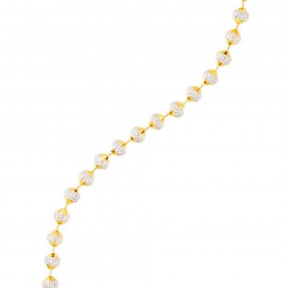 Oro Italia 916 Beads Planet White and Yellow Gold Bracelet (11.50G) GW3167(5)-BI
