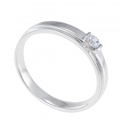 Tension Set Round Diamond Men's Ring in 925 Palladium 00945(PLD)