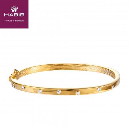 Oro Italia 916 Luna White and Yellow Gold Bangle (17.00G) GB8586-BI