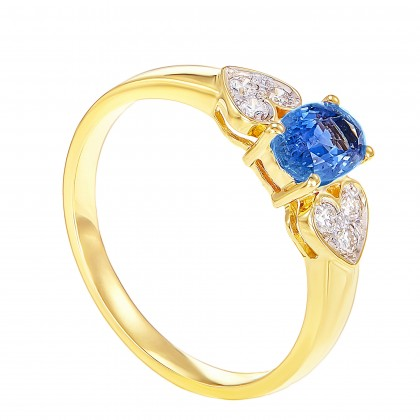 Oval Cut Blue Sapphire and Round Diamond Ring in 375/9K Yellow Gold 02164