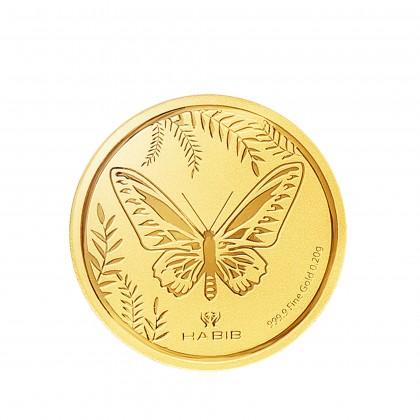 Rajah Brooke's Birdwing Butterfly Gold Wafer Coin, 999 Gold (0.20G)