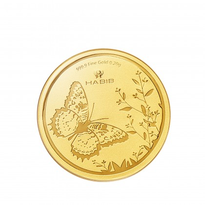 Malay Lacewing Butterfly Gold Wafer Coin, 999 Gold (0.20G)