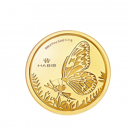 Paper Kite Butterfly Gold Wafer Coin, 999 Gold (0.20G)