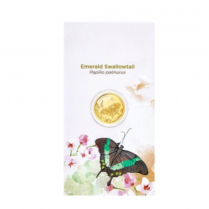 Emerald Swallowtail Butterfly Gold Wafer Coin, 999 Gold (0.20G)
