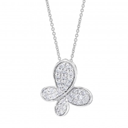 Round Diamond Butterfly Necklace in 375/9K White Gold 558550721