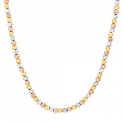 Oro Italia 916 Piccolo Yellow, White and Rose Gold Necklace (13.37G) GC24900220(3)-TI