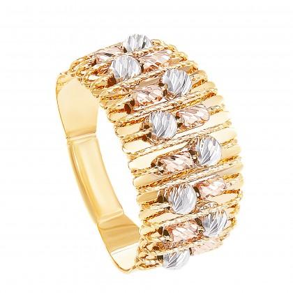Oro Italia 916 Sicilia Yellow, White and Rose Gold Ring (4.82G) GR4258-TI