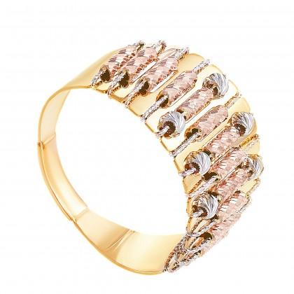 Oro Italia 916 Sicilia Yellow, White and Rose Gold Ring (5.68G) GR44160220-TI