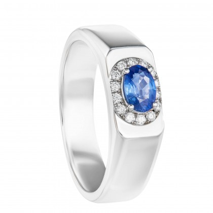 Oval Cut Blue Sapphire and Round Diamond Ring in 925/PLD White Gold 25089