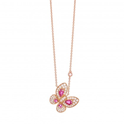 Pear Shape Ruby and Round Diamond Butterfly Necklace in 375/9K Yellow Gold 558540721