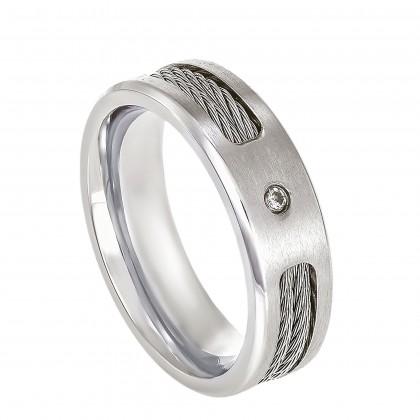 Flush Set Solitaire Diamond Men's Ring in Titanium A0556