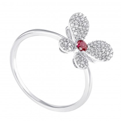 Ruby and Round Diamond Butterfly Ring in 375/9K White Gold 261290821-RY