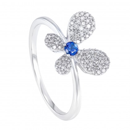 Blue Sapphire and Round Diamond Butterfly Ring in 375/9K White Gold 261290821-BS