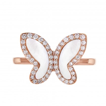 Mother of Pearl Butterfly Diamond Ring in 375/9K Rose Gold 261160821