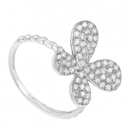 Round Diamond Butterfly Ring in 375/9K White Gold 261180821(WG)