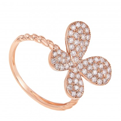 Round Diamond Butterfly Ring in 375/9K Rose Gold 261180821(RG)