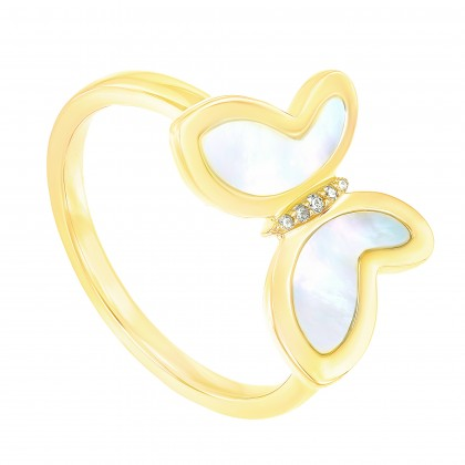 Mother of Pearl Diamond Butterfly Ring in 375/9K Yellow Gold 261170821(YG)