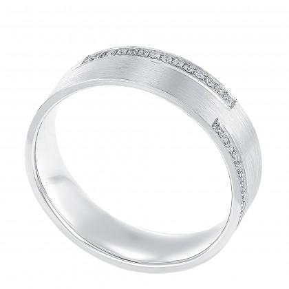 Round Diamond Ring in 750/18K White Gold 11913-A