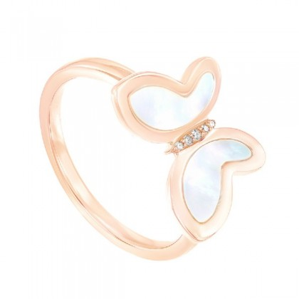 Mother of Pearl Diamond Butterfly Ring in 375/9K Rose Gold 2261170821(RG)