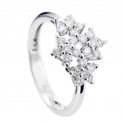 Round Diamond Ring in 750/18K White Gold 23273
