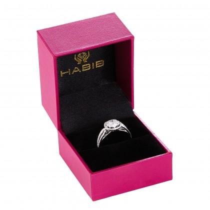 Split Band Round Diamond Ring in 750/18K White Gold 23976