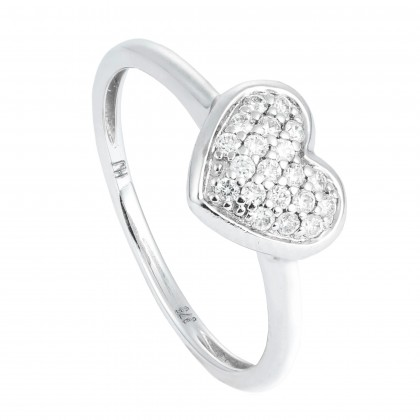Love Shape Round Diamond Ring in 750/18K White Gold 24099