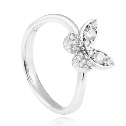 Adore Butterfly Shape Round Diamond Ring in 750/18K White Gold 24086