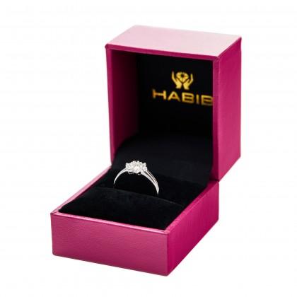 Round Diamond Ring in 750/18K White Gold 11506