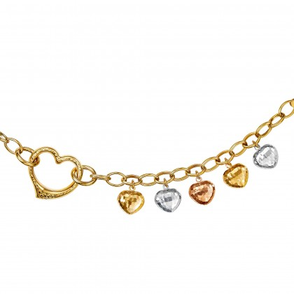 Oro Italia 916 Amore White, Yellow and Rose Gold Bracelet (13.27G) GW36450720-TI