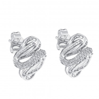 Channel Set Round and Tapered Diamond Earrings in 750/18K White Gold 24812(E)