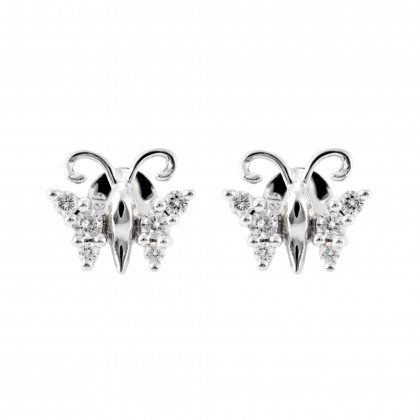 Round Diamond Butterfly Earrings in 750/18K White Gold 45168