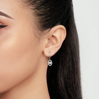 Round Diamond Hoop Earrings in 750/18K Yellow Gold 45280
