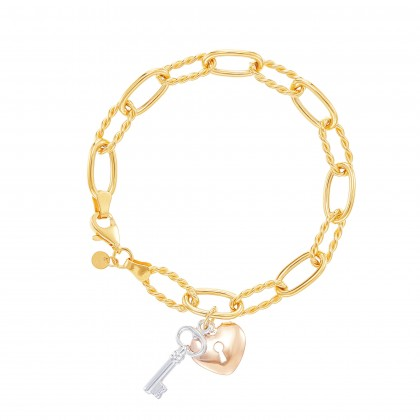 Oro Italia 916 Graffetta White, Yellow and Rose Gold Bracelet (12.0G) GW37820421-TI