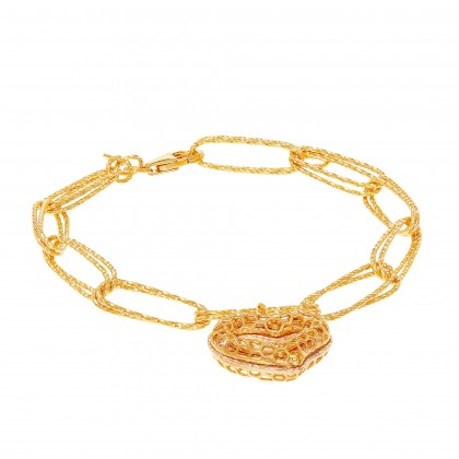 Oro Italia 916 Graffetta Yellow and Rose Gold Bracelet (11.38G) GW38310521(RY)-BI