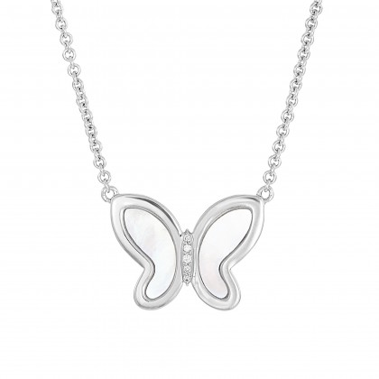 Mother of Pearl Diamond Butterfly Necklace in 375/9K White Gold 558660821(WG)