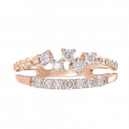 Young Collection Split Band Round Diamond Ring in 375/9K Rose Gold 261430821