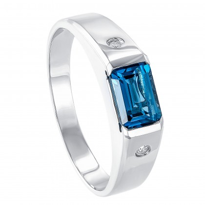 Channel Set Blue Topaz Diamond Men's Ring in 925 Palladium 252110821(PLD)-LBTO
