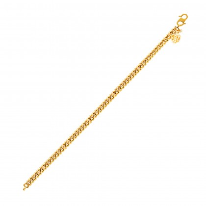 Sauh Lama Kosong with Bold Heart Shape Gold Bracelet, 916 Gold (12.16G) GW0111020