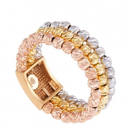 Oro Italia 916 White, Yellow and Rose Gold Ring (6.56G) GR45650321-TI