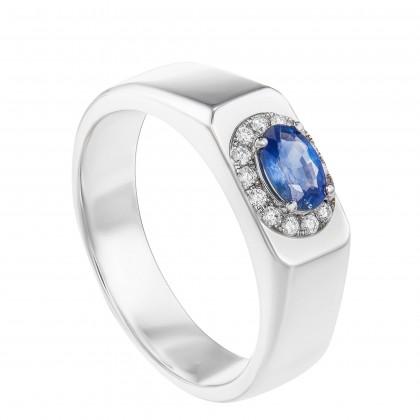 Oval Cut Blue Sapphire and Diamond Men's Ring in 925/Palladium 25089(PLD)