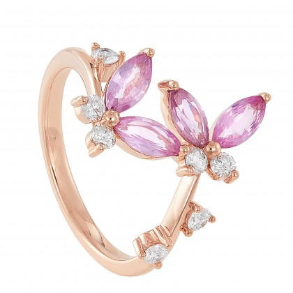 Marquise Cut Pink Sapphire Round Diamond Butterfly Ring in 375/9K Rose Gold 261330821(RG)-PS
