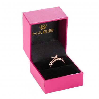 Double Row Split-shank Butterfly Shape Round Diamond Ring in 375/9K Rose Gold 261320821