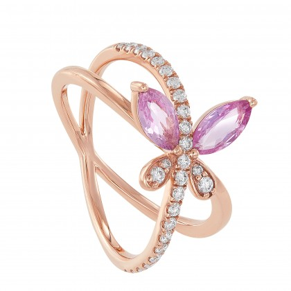 Marquise Cut Pink Sapphire Round Diamond Butterfly Ring in 375/9K Rose Gold 261340821