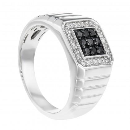 Black Round Diamond in 925/Palladium 25104(PLD)
