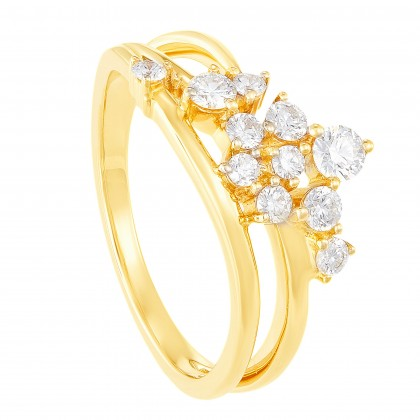 Young Collection Split Band Round Diamond Ring in 375/9K Yellow Gold 261500821