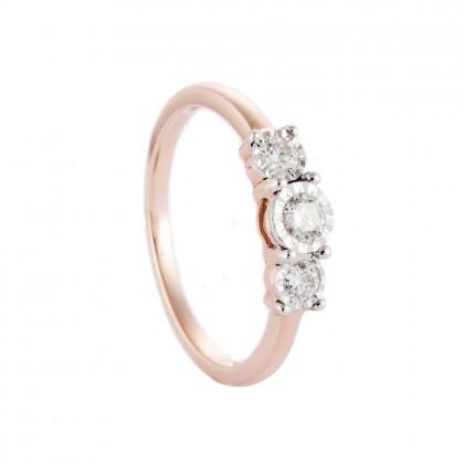 Trilogy Diamond Ring in 375/9K Rose Gold 24629